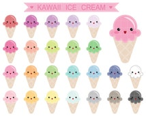 24 Kawaii Cute Ice Cream Clipart, Colorful Pastel Rainbow Color Clip Art, PNG, Printable Supplies, Instant download, by NedtiDesigns