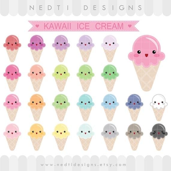 24 Kawaii Cute Ice Cream Clipart Colorful Pastel Rainbow