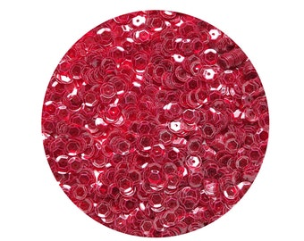 6mm Cup Sequins Facet Paillettes Red Wine See-Thru Transparent