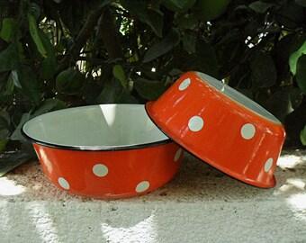 Pair of polka dot enamel bowls , Soviet Russia 1970,