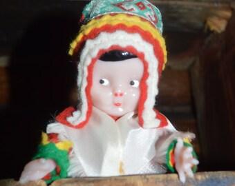 Vintage sami doll. Cute souvenir doll from Finnish Lapland.