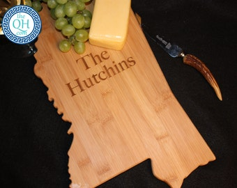 Mississippi State Shaped Cutting Board Personalized Wedding Housewarming New Home Moving Hostess Closing Unique Gift