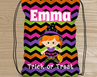 Personalized Halloween Trick or Treat Bag - Custom Witch Drawstring Backpack for Girls - Kids' Halloween Bag - Halloween Witch Treat Bag