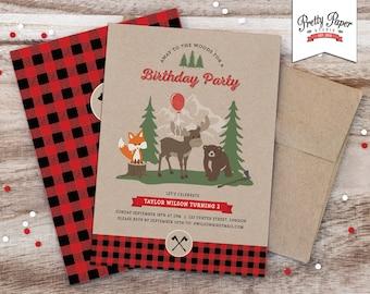 Buffalo Plaid Woodland Birthday Party Invitation // Lumberjack Invite // Rustic 1st Birthday // Boy Girl // Fox Moose Bear // Printable BP06