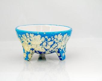 ceramic  bowl in handmade salsa bowl serving bowl cloudy blue