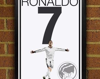 Cristiano Ronaldo 7 Poster - Real Madrid - Portugal Soccer Poster- 8x10, 13x19, poster, art, wall decor, home decor