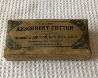 Rare Collectible Unopened Early 1900s Seabury & Johnson Absorbent Cotton Package