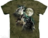 Mens Graphic Tee Three Wolf Moon in Olive T-shirt Size M, L, XL, 2XL 100% cotton