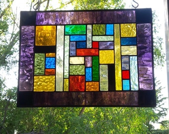 Black Purple Stained Glass Meditation Panel