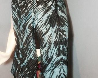 Shibori Pole wrap feather effect style scarf