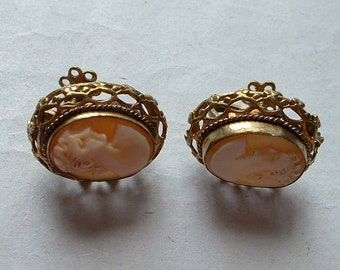 Vintage carved shell cameo earrings