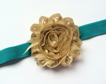 Teal and Gold Flower Headband - Dark Teal Head Band for Girls - Headband for Toddler - Gold Shabby Flower Head Band - Gold and Teal Headband