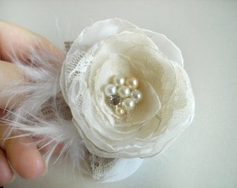 SALE Ivory Wedding Flower  Hair Piece, Bridal Hair Clip, Rustic Wedding  Hair Flower Bridal  Accessories, Burlap Wedding  Ivory Fascinator