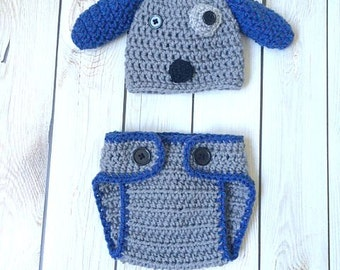 Newborn Puppy hat with matching diaper cover