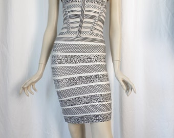 Hervé Léger bold B&W graphics cage style bandage dress with mesh inserts/ sleeveless Size L