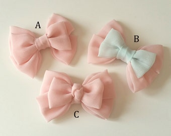 Cute Pink Chiffon Bow Hair Accessory - Elastic/Alligator Clip/French Barrette/None Finish Available