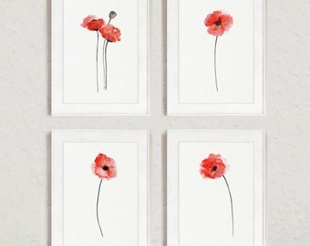 Set of 4 Abstract Flowers, Red Poppy Watercolor Painting, Floral Home Decor, Poppies Art Print, Wall Hanging