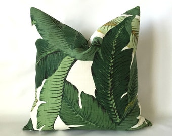 Palm Leaf Pillow Cover - Tommy Bahama Fabric Pillow, Indoor Outdoor Pillow, Banana Leaf Pillow, Patio Pillow, Porch Pillows, Outdoor Cushion