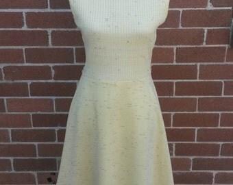 Vintage pastel yellow knit dress and matching jacket 1960's