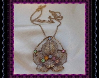 CLEARANCE..!! Vintage Leaf  Necklace,