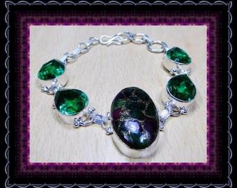 Natural Ruby & Emerald In Copper  Bracelet