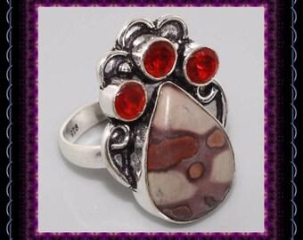 Australian Mookaite & Garnet Ring