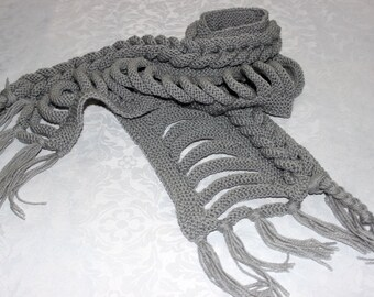 Knitted female gray scarf / women Knitted Scarf