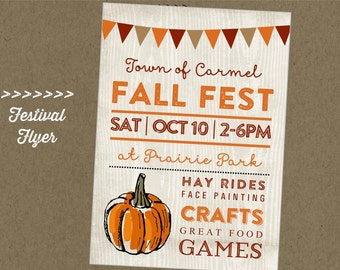 Fall Fest Printable Flyer - Festival - Craft Fair - Vendor Market - Pumpkin - Autumn