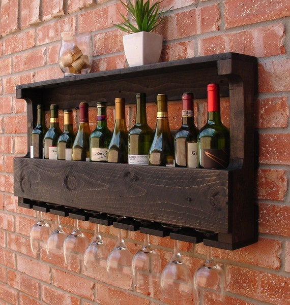 Rustic 10 Bottle Wall Mount Wine Rack W 8 Glass Slot Holder