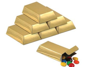 12- Gold Favor Boxes game night party supplies decorations birthday casino poker party table centerpieces pirates gold bars monte carlo
