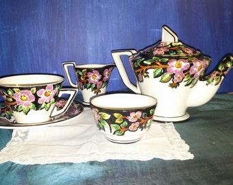 Antique Tea Service Art Deco China Rare Portuguese Tea Setting 5 Piece Hand Painted Floral Sacavem GilmanTablewares circa 1920s
