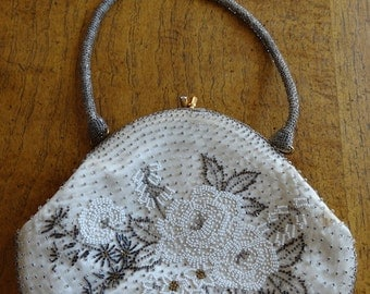 Vintage 1950's BEAUTIFUL Beaded Handbag Made By 'Fuji Bag' - Lovely!!
