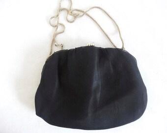 Vintage Black Chiffon Handbag Made In The 1950's - Lovely!!
