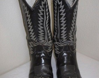 Vintage Black Leather Cowboy Boots Made In USA By 'CowTown Boots' - UK Size 9