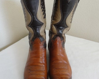 RARE Vintage 'Tony Lama' Mens Leather Cowboy Boots Made In USA - UK Size 6