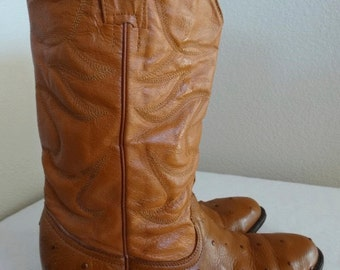 Vintage 'Austin' Leather & Ostrich Skin Cowboy Boots - UK Size 7