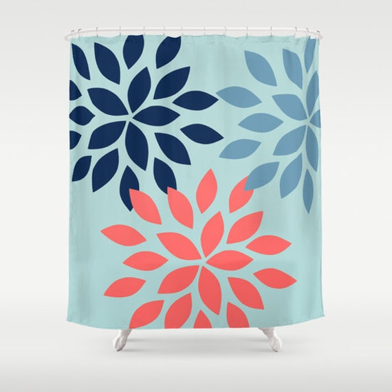 dahlia shower curtain light teal stone navy by hlbhomedesigns