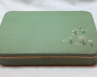 Vintage Farrington Genuine Texol Green Flowers Butterfly Velvet Red Satin Trinket Keepsake Jewelry Box w Hinge Lid