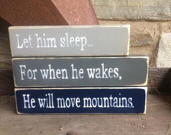 Let Him Sleep   Hand Painted   Stacking blocks   Nursery   Gray   Navy   Rustic decor   Farmhouse Nursey