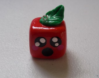 Large Square Apple Polymer Clay Charm