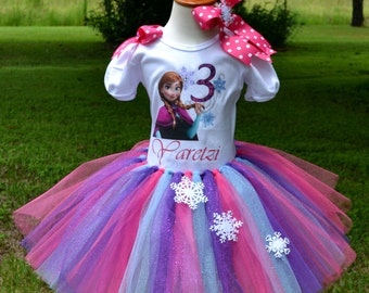 Frozen Inspired Anna Tutu and Custom Shirt Set for Baby Showers Birthdays, Pageants, Photos