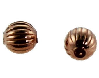 Copper Corrugated Round Beads 3.2mm (Pkg of 100)  (ABCU-C03)