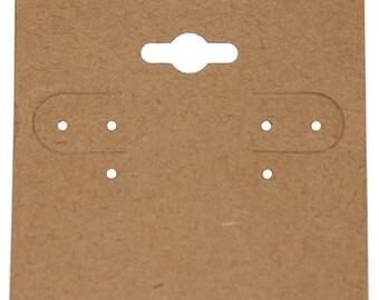 """Hanging Earring Card Kraft Paper Covered 2"""" """"PLAIN"""" (Pkg of 100)  (DER751)"""