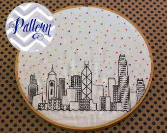 Hello Hong Kong Cross Stitch Pattern. Confetti City Skyline. Cityscape. China. Digital PDF Pattern. Blackwork. Housewarming.