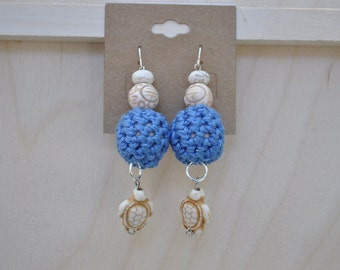 Unique Earrings - Turtle Jewelry - Blue