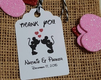 Personalized Favor Tags 2 1/2'', Wedding tags, Thank You tags, Favor tags, Gift tags, Bridal Shower Favor Tags, disney wedding
