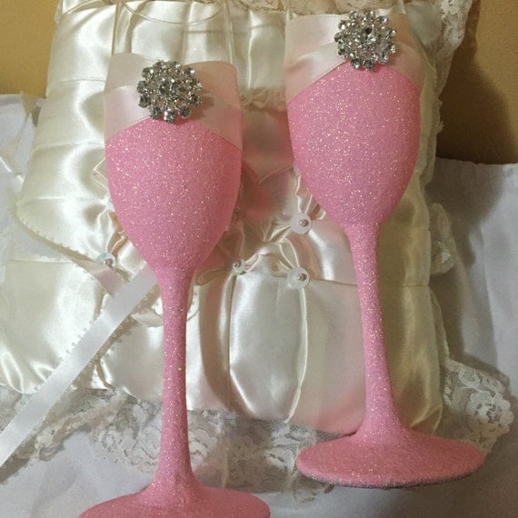 Wedding Toasting Flutes Champagne Flutes Pink Glitter Glass