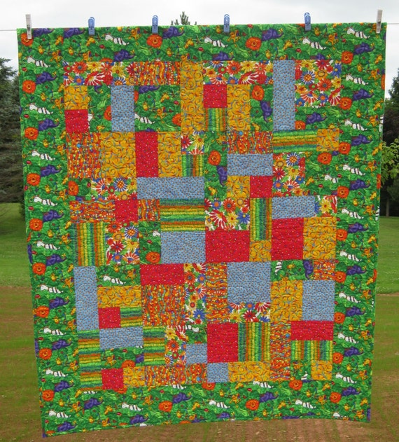 Safari Quilt Primary Colors Toddler Bed Quilt