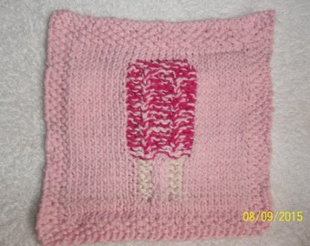 Cherry Popcycle Hand Knitted Wash Or Dish Cloth