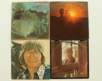 John Denver Albums, Set of 4, Aerie, Take Me to Tomorrow, Windsong, Farewell Andromeda, Record Albums, LP, Vinyl